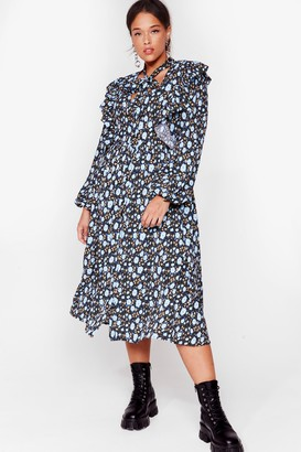 Nasty Gal Womens Ties the Limit Plus Floral Dress - Blue