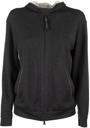Brunello Cucinelli Lightweight Stretch Cotton Hooded Sweatshirt With Shiny Tab