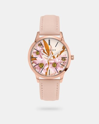 Ted Baker Leather Strap Floral Dial Watch