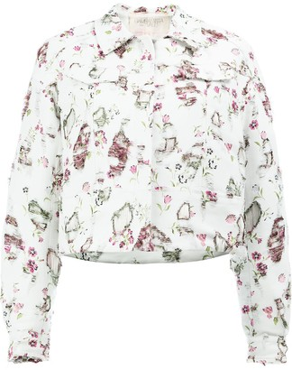 Giambattista Valli Distressed Floral Jacket
