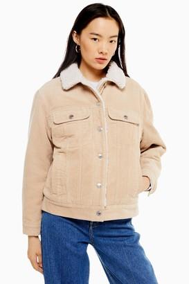 Topshop Womens Ecru Corduroy Oversized Borg Lined Jacket - Ecru