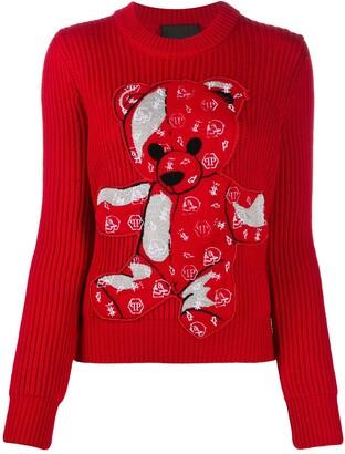 Philipp Plein Teddy Bear Embroidered Jumper