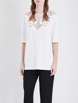 Stella McCartney Floral lace-panel crepe top