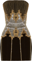 Balmain Bead-embellished velvet bandeau dress