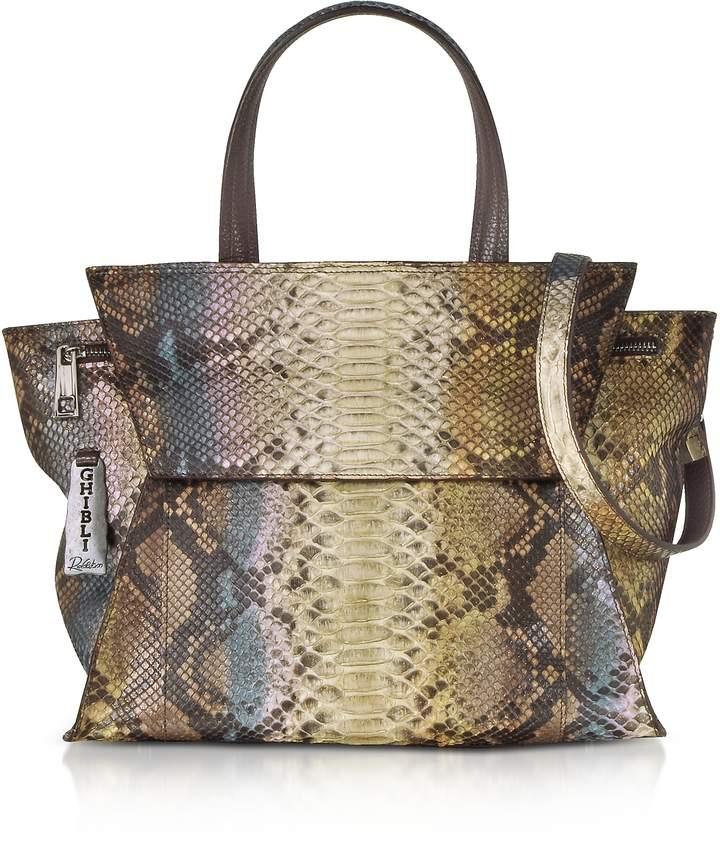 Ghibli Brown Paillette Python Leather Satchel Bag w/Shoulder Strap