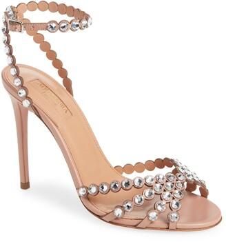 Aquazzura Tequila Crystal Embellished Ankle Strap Sandal