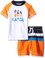 Nautica Toddler Boys' Two Piece Rashguard Set with Colorblock and Artwork