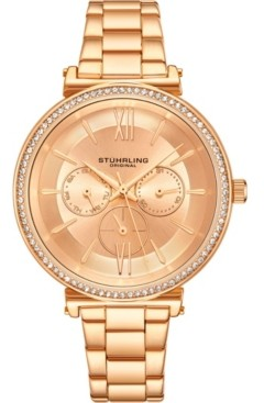 Stuhrling Original Women's Multi-Function, Gold-Tone Case and Bracelet, Gold Dial Watch
