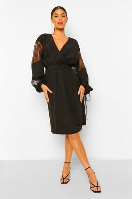 boohoo Lace Insert Plunge Wrap Midi Dress