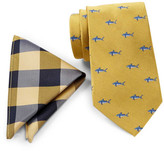 Tommy Hilfiger Big Gingham Silk Pocket Square & Shark Tie Set