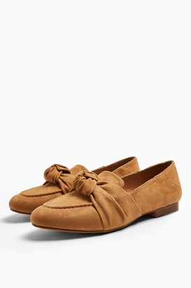 Topshop AYLA Tan Knot Loafers