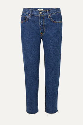 GRLFRND Helena Frayed High-rise Straight-leg Jeans - Dark denim