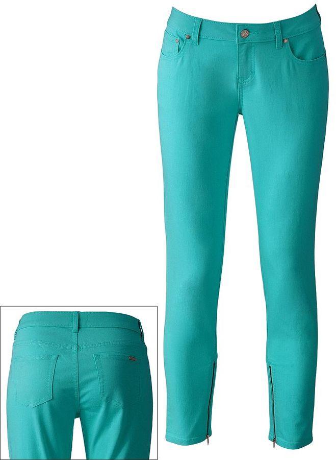 JLO by Jennifer Lopez embellished color straight-leg jeans - women's