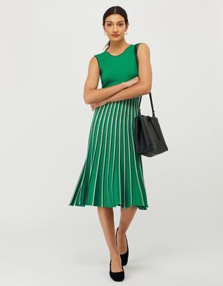 Monsoon Mimi Ribbed Knit Sleeveless Dress Green