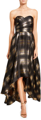 Shoshanna Alleah Metallic Plaid High-Low Bustier Gown