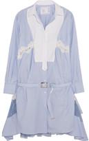 Sacai Silk-organza, Piqué And Lace-trimmed Striped Cotton-poplin Dress - Light blue