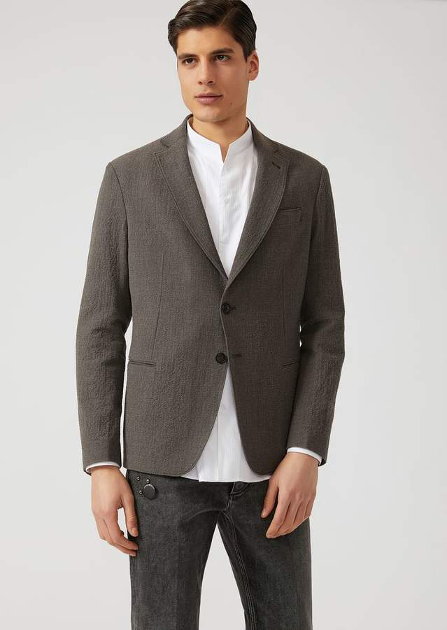 Emporio Armani Two-Button Single-Breasted Stretch Wool Seersucker Jacket