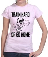 Customised Perfection Train Hard Pug Fitness Sports Running Womens Ladies T Shirt XS