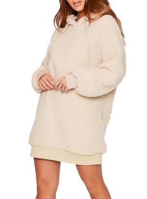 Liumilac LIUMILAC Womens Warm Hooded Sweater Dresses Apricot Loose Casual Coat Long Sleeve M