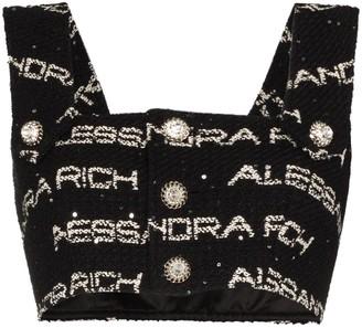 Alessandra Rich Logo Tweed Crop Top