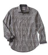 Thomas Dean Big & Tall Jacquard Long-Sleeve Woven Shirt