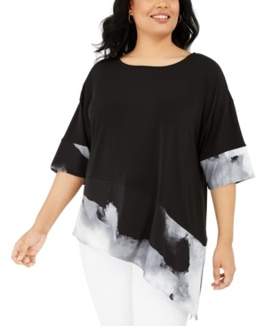 Alfani Plus Size Asymmetrical Printed Top, Created for Macy's
