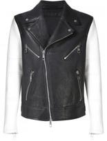 Neil Barrett contrast sleeve biker jacket