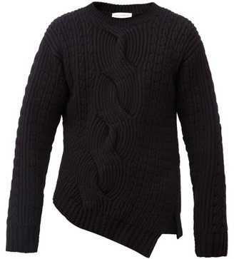 Alexander McQueen Asymmetric Cable-knit Wool-blend Sweater - Black