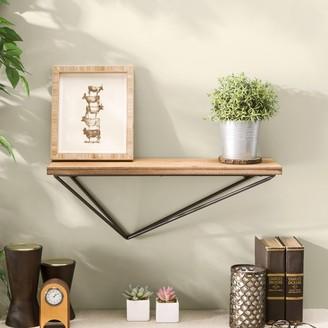 Danya B Industrial Floating Shelf Wood with Asymmetrical Iron Bracket