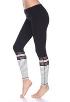 Electric Yoga Black & White Stripe Mesh Leggings