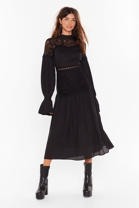 Nasty Gal Womens Love is Tier Lace Midi Dress - Black