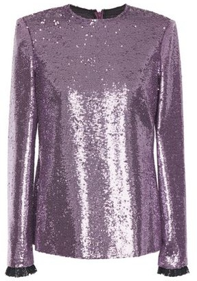 Philosophy di Lorenzo Serafini Lace-trimmed Sequined Tulle Top