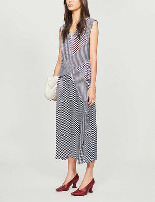 Sportmax Favola geometric-print satin midi dress