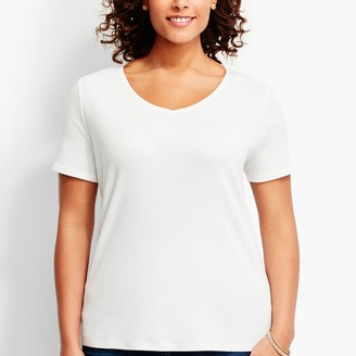 Talbots Pima Cotton Short-Sleeve V-Neck Tee