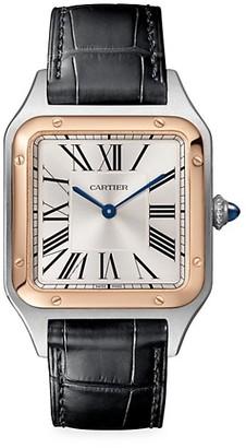 Cartier Santos Dumont de Large 18K Rose Gold, Stainless Steel & Black Alligator-Strap Watch