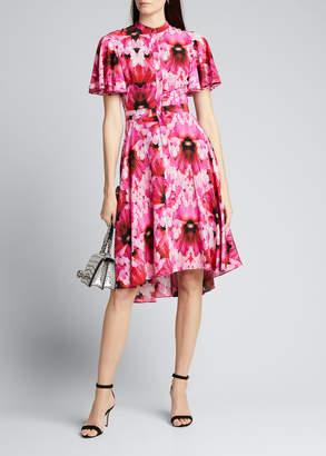Alexander McQueen Floral Crepe de Chine Fluttered Cap-Sleeve Midi Dress