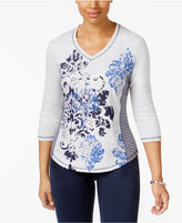Karen Scott Mixed-Print Active Top, Only at Macy's