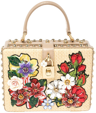 Dolce & Gabbana Beige Embroidered Raffia and Leather Crystal Embellished Box Top Handle Bag