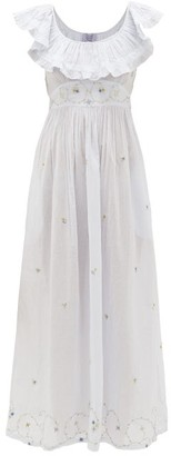 Thierry Colson Milos Floral-embroidered Cotton-voile Dress - Womens - Light Blue