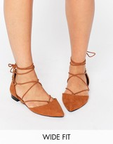 Asos LITERAL Wide Fit Lace Up Ballet Flats