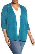 Sejour Plus Size Women's Wool & Cashmere V-Neck Cardigan