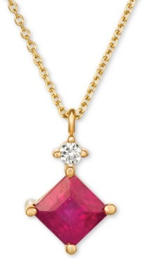 """Macy's Emerald (5/8 ct. t.w.) and Diamond Accent 16"""" Pendant Necklace in 14k White Gold(Available In Sapphire and Certified Ruby)"""