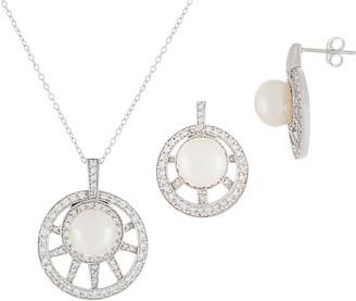 Splendid Pearls Rhodium Plated 7.5-8Mm Pearl & Cz Necklace & Earrings Set