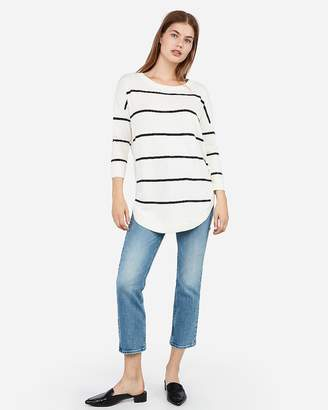 Express Stripe Bateau Neck Extreme Circle Hem Sweater