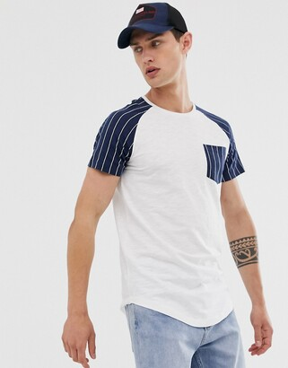 Tom Tailor t-shirt with stripe raglan sleeve and pocket-White