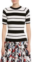 Jason Wu Crewneck Short-Sleeve Striped Ribbed Sweater