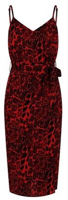 Dorothy Perkins Womens Girls On Film Red Leopard Print Slip Dress, Red