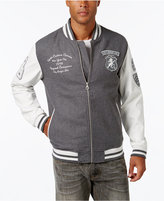 Sean John Men's Multi-Patch Wool Blend & Faux Leather Varsity Jacket, Only at Macy's