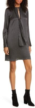 Nili Lotan Isla Dot Long Sleeve Shift Minidress