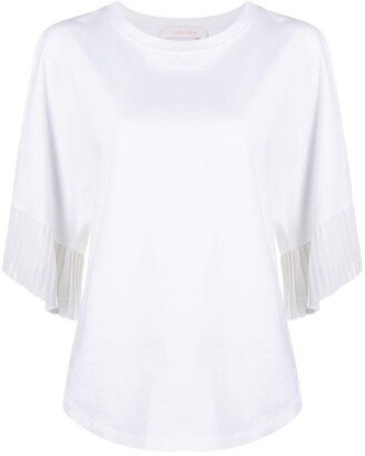See by Chloe pleat-trim cotton T-shirt